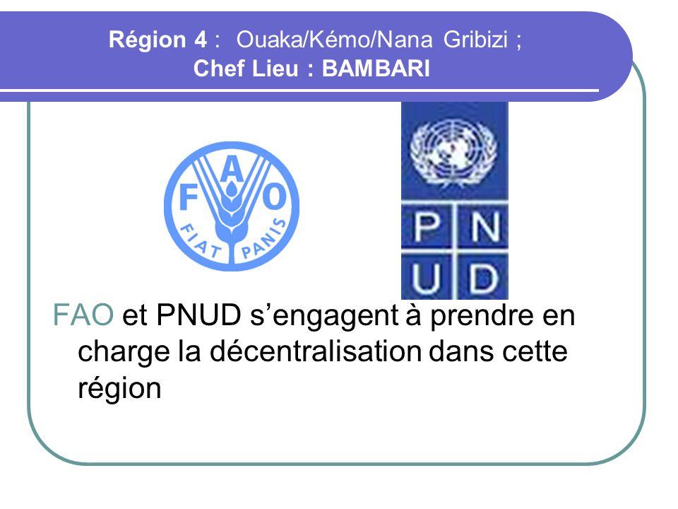 Région 4 : Ouaka/Kémo/Nana Gribizi ; Chef Lieu : BAMBARI FAO et PNUD sengagent à prendre en charge la décentralisation dans cette région