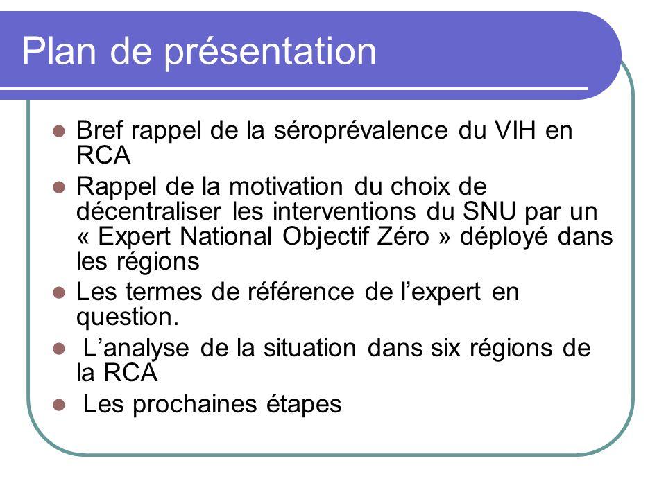 Plan de présentation Bref rappel de la séroprévalence du VIH en RCA Rappel de la motivation du choix de décentraliser les interventions du SNU par un
