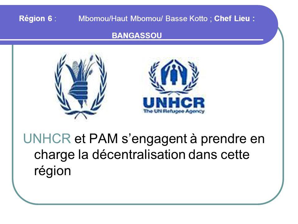 Région 6 :Mbomou/Haut Mbomou/ Basse Kotto ; Chef Lieu : BANGASSOU UNHCR et PAM sengagent à prendre en charge la décentralisation dans cette région
