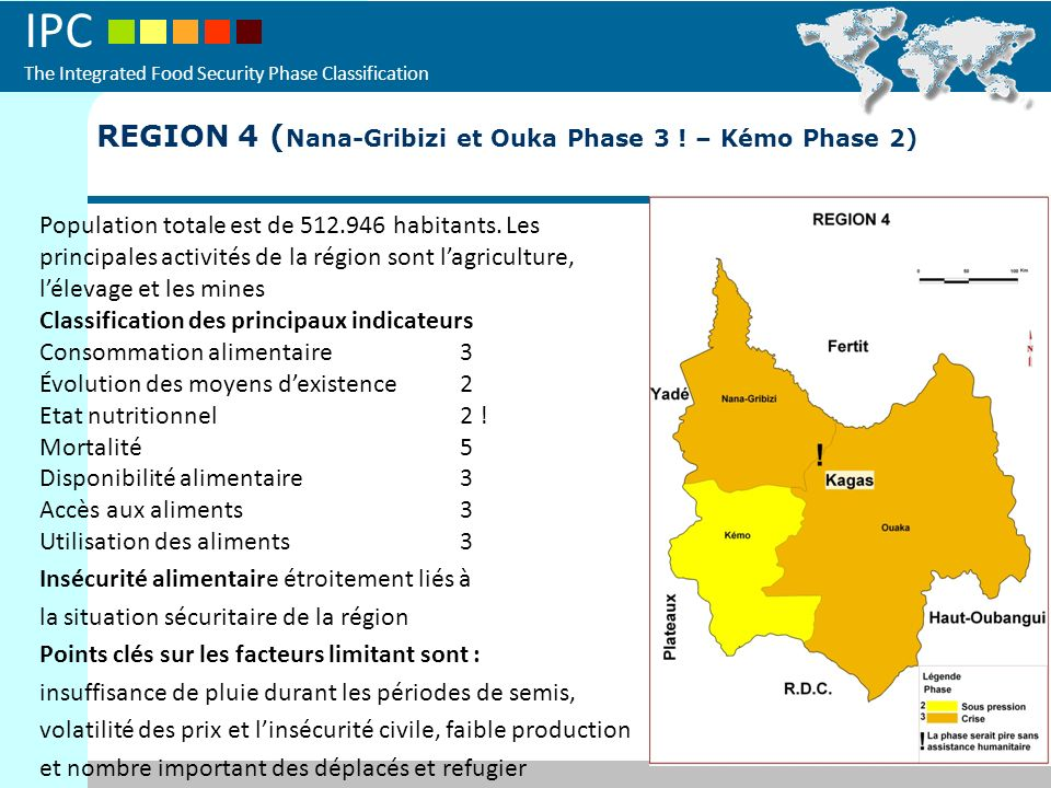 IPC The Integrated Food Security Phase Classification REGION 4 ( Nana-Gribizi et Ouka Phase 3 ! – Kémo Phase 2) Population totale est de 512.946 habit
