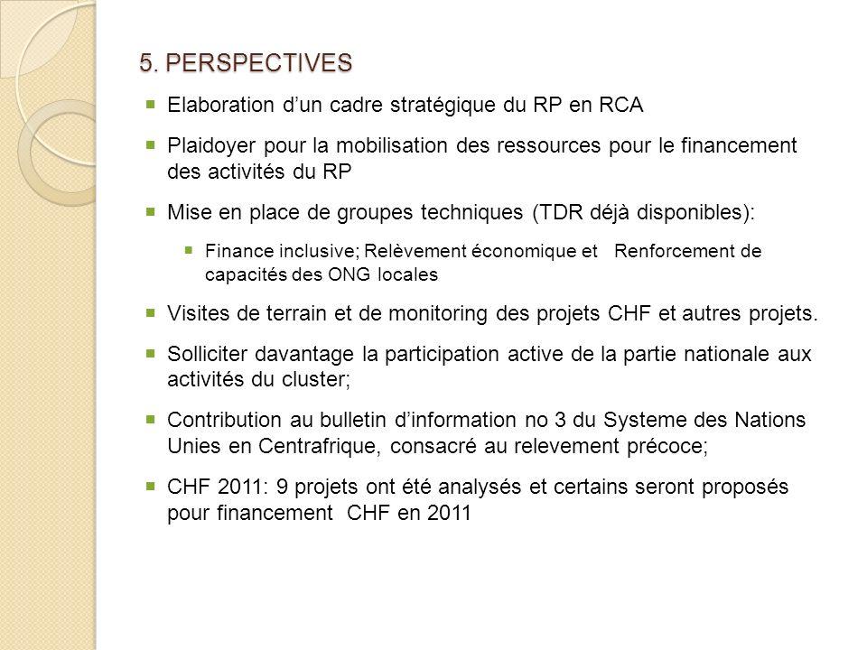 5. PERSPECTIVES Elaboration dun cadre stratégique du RP en RCA Plaidoyer pour la mobilisation des ressources pour le financement des activités du RP M