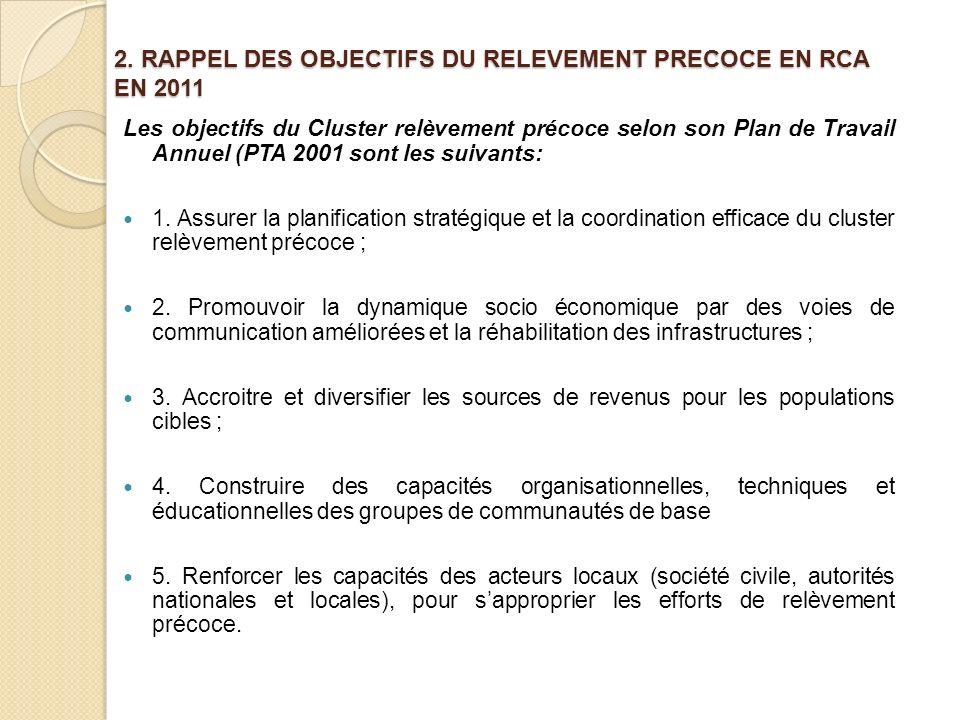 2. RAPPEL DES OBJECTIFS DU RELEVEMENT PRECOCE EN RCA EN 2011 Les objectifs du Cluster relèvement précoce selon son Plan de Travail Annuel (PTA 2001 so