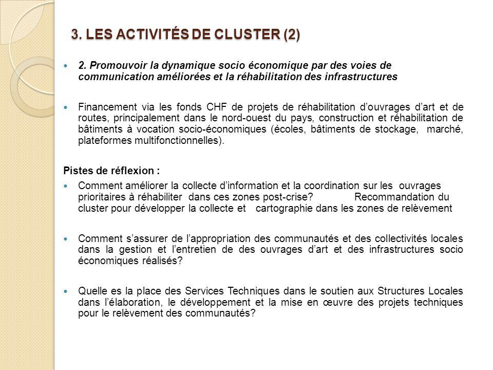 3.LES ACTIVITÉS DE CLUSTER (2) 2.