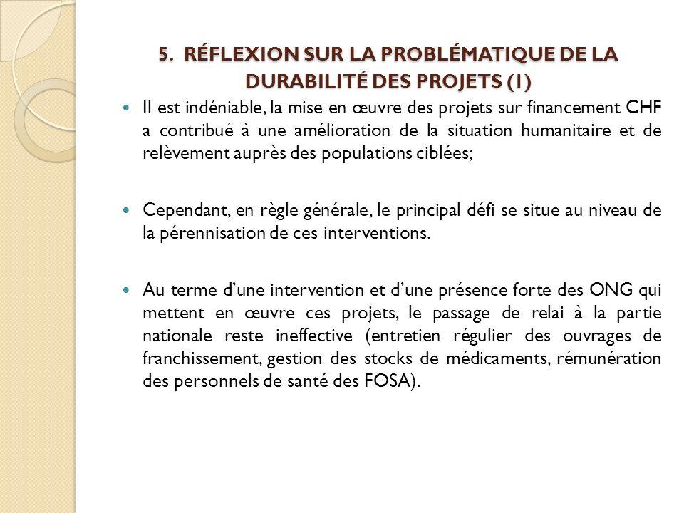 5. RÉFLEXION SUR LA PROBLÉMATIQUE DE LA DURABILITÉ DES PROJETS (1) 5. RÉFLEXION SUR LA PROBLÉMATIQUE DE LA DURABILITÉ DES PROJETS (1) Il est indéniabl