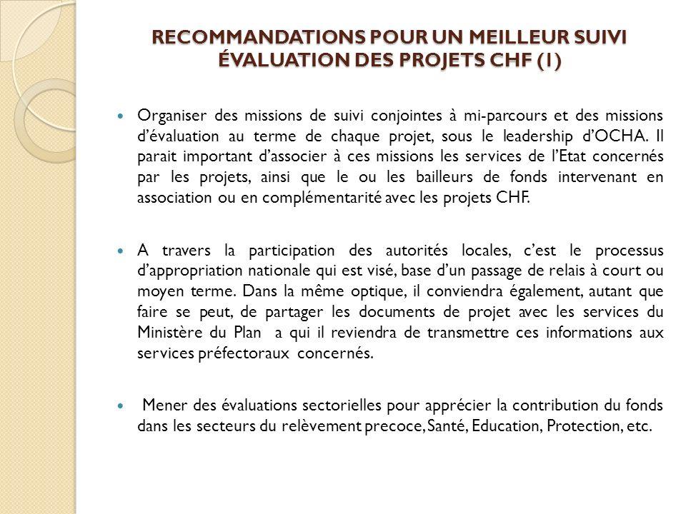 RECOMMANDATIONS POUR UN MEILLEUR SUIVI ÉVALUATION DES PROJETS CHF (1) Organiser des missions de suivi conjointes à mi-parcours et des missions dévalua