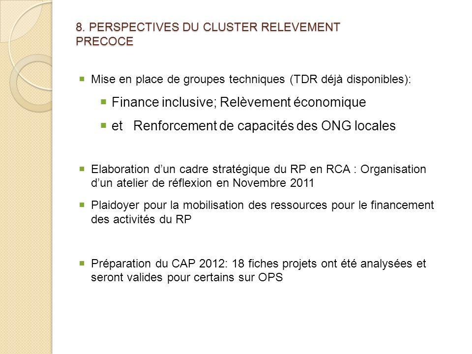 8. PERSPECTIVES DU CLUSTER RELEVEMENT PRECOCE Mise en place de groupes techniques (TDR déjà disponibles): Finance inclusive; Relèvement économique et
