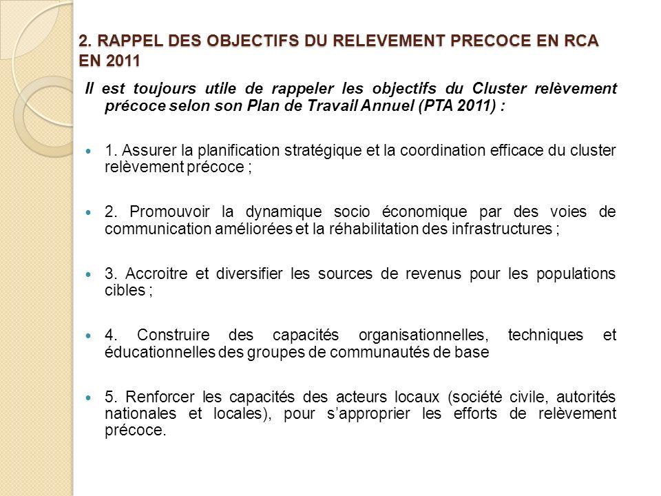 2. RAPPEL DES OBJECTIFS DU RELEVEMENT PRECOCE EN RCA EN 2011 Il est toujours utile de rappeler les objectifs du Cluster relèvement précoce selon son P