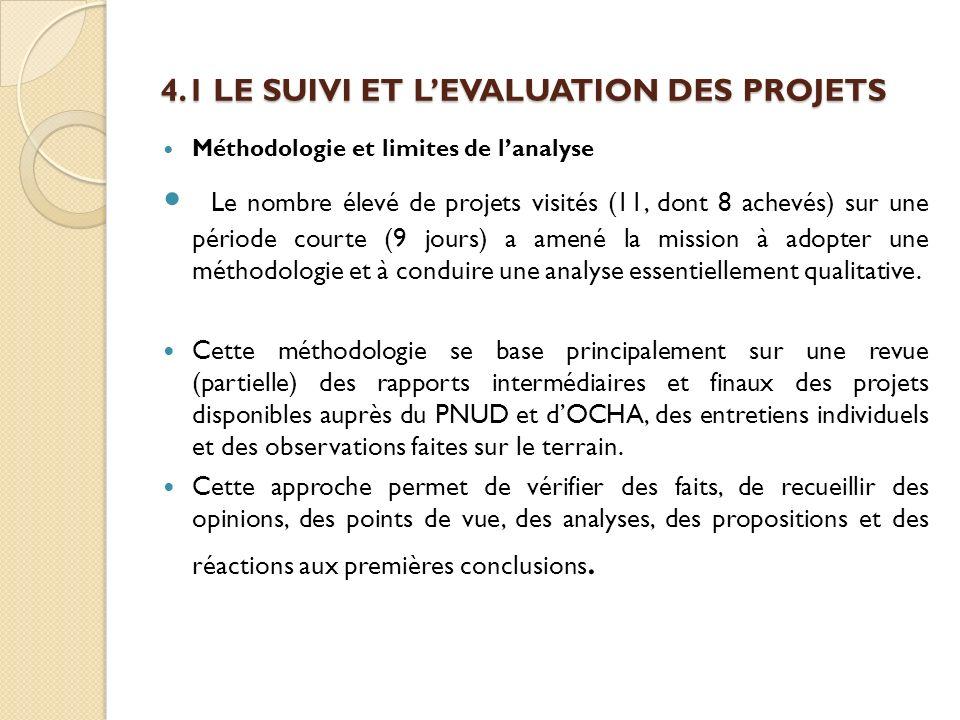 4.1 LE SUIVI ET LEVALUATION DES PROJETS Méthodologie et limites de lanalyse Le nombre élevé de projets visités (11, dont 8 achevés) sur une période co