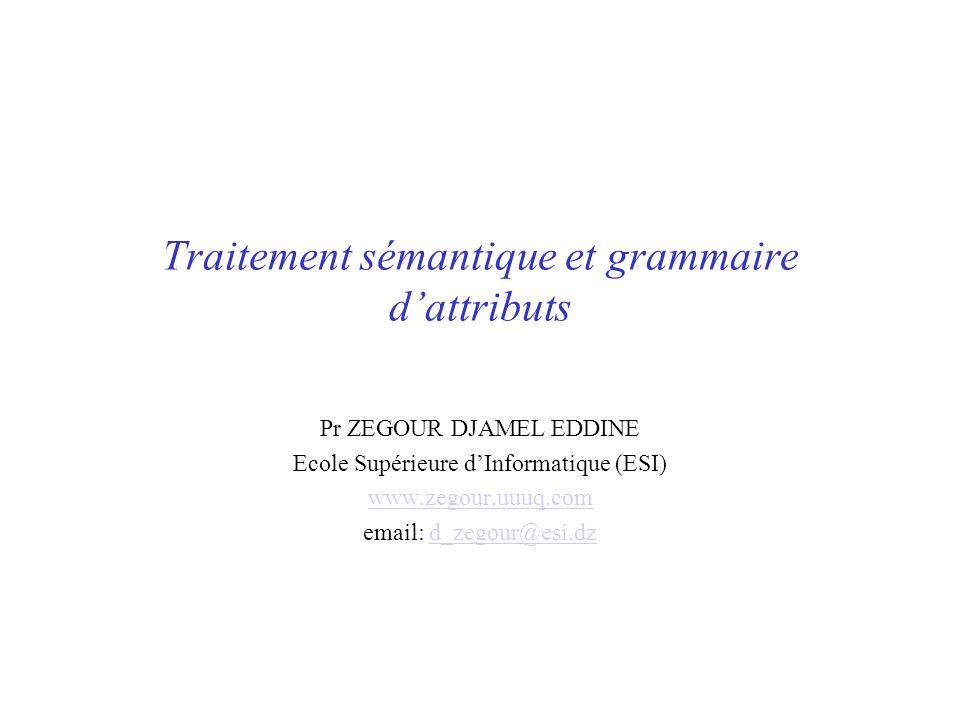 Traitement sémantique et grammaire dattributs Pr ZEGOUR DJAMEL EDDINE Ecole Supérieure dInformatique (ESI) www.zegour.uuuq.com email: d_zegour@esi.dzd_zegour@esi.dz