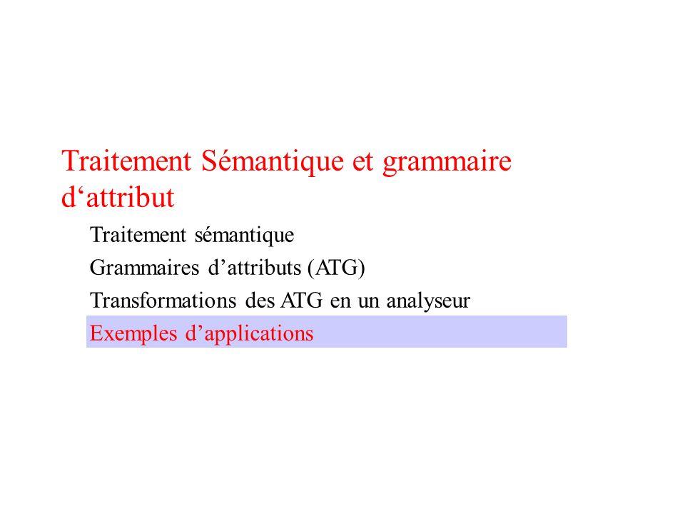 Traitement Sémantique et grammaire dattribut Traitement sémantique Grammaires dattributs (ATG) Transformations des ATG en un analyseur Exemples dapplications