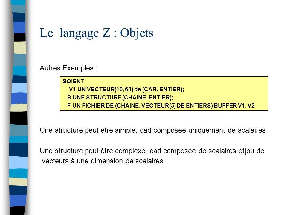 Le langage Z : Objets Autres Exemples : Une structure peut être simple, cad composée uniquement de scalaires Une structure peut être complexe, cad com