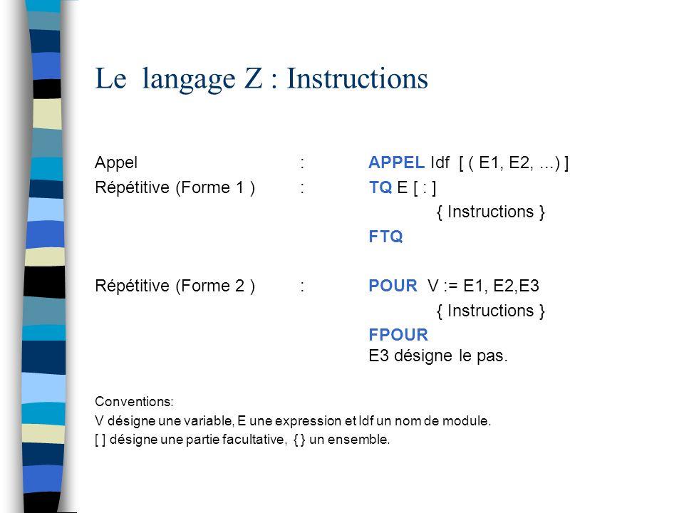 Le langage Z : Instructions Appel : APPEL Idf [ ( E1, E2,...) ] Répétitive (Forme 1 ):TQ E [ : ] { Instructions } FTQ Répétitive (Forme 2 ):POUR V :=