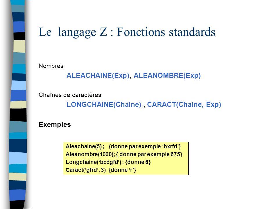Le langage Z : Fonctions standards Nombres ALEACHAINE(Exp), ALEANOMBRE(Exp) Chaînes de caractères LONGCHAINE(Chaine), CARACT(Chaine, Exp) Exemples Ale