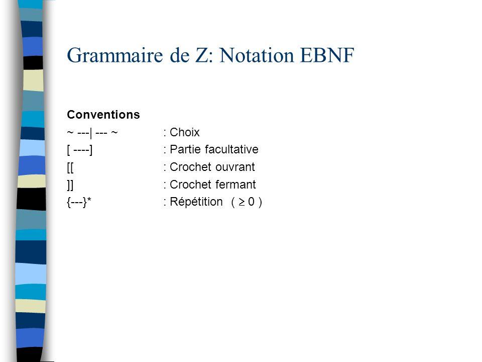 Grammaire de Z: Notation EBNF Conventions ~ ---| --- ~ : Choix [ ----] : Partie facultative [[ : Crochet ouvrant ]] : Crochet fermant {---}* : Répétit