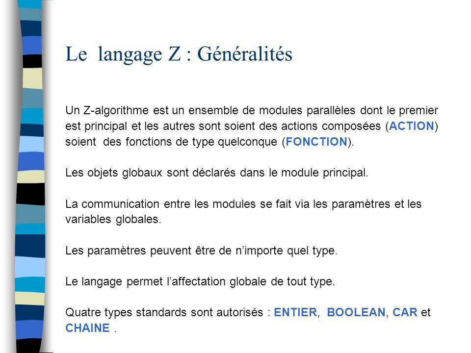 Le langage Z : Instructions Appel : APPEL Idf [ ( E1, E2,...) ] Répétitive (Forme 1 ):TQ E [ : ] { Instructions } FTQ Répétitive (Forme 2 ):POUR V := E1, E2,E3 { Instructions } FPOUR E3 désigne le pas.