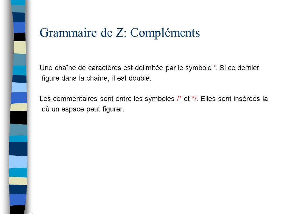 Grammaire de Z: Compléments Une chaîne de caractères est délimitée par le symbole. Si ce dernier figure dans la chaîne, il est doublé. Les commentaire