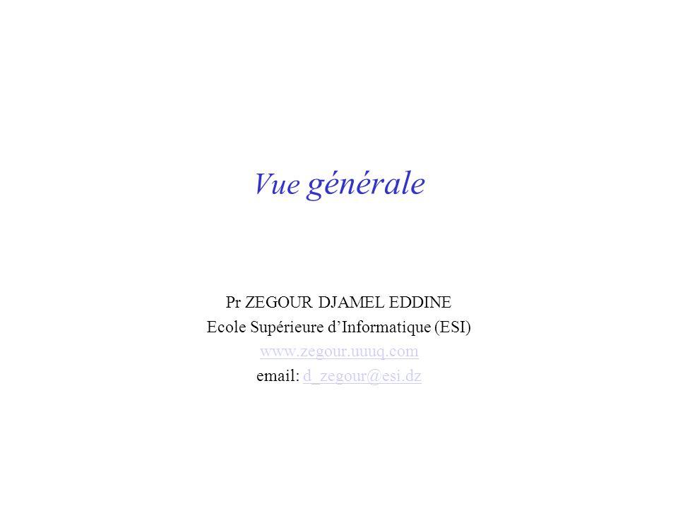 Vue générale Pr ZEGOUR DJAMEL EDDINE Ecole Supérieure dInformatique (ESI) www.zegour.uuuq.com email: d_zegour@esi.dzd_zegour@esi.dz