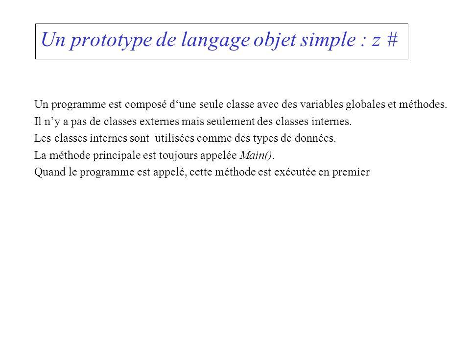 Un prototype de langage objet simple : z # Un programme est composé dune seule classe avec des variables globales et méthodes. Il ny a pas de classes