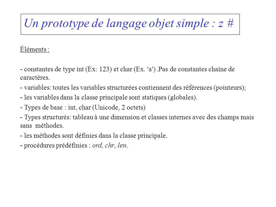 Un prototype de langage objet simple : z # Éléments : - constantes de type int (Ex: 123) et char (Ex. 'a').Pas de constantes chaîne de caractères. - v