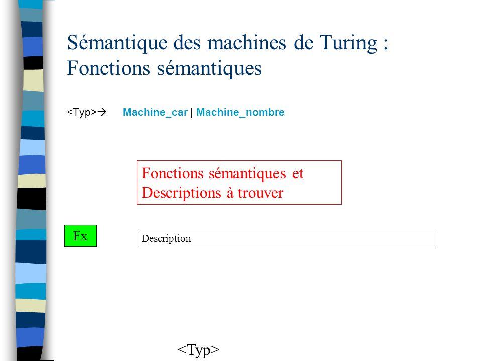 Sémantique des machines de Turing : Fonctions sémantiques Machine_car | Machine_nombre Description Fx Fonctions sémantiques et Descriptions à trouver