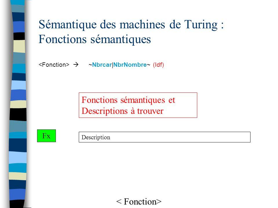 Sémantique des machines de Turing : Fonctions sémantiques ~Nbrcar|NbrNombre~ (Idf) Description Fx Fonctions sémantiques et Descriptions à trouver