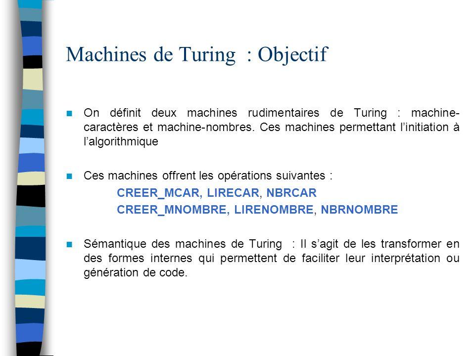 Machines de Turing : Objectif On définit deux machines rudimentaires de Turing : machine- caractères et machine-nombres.