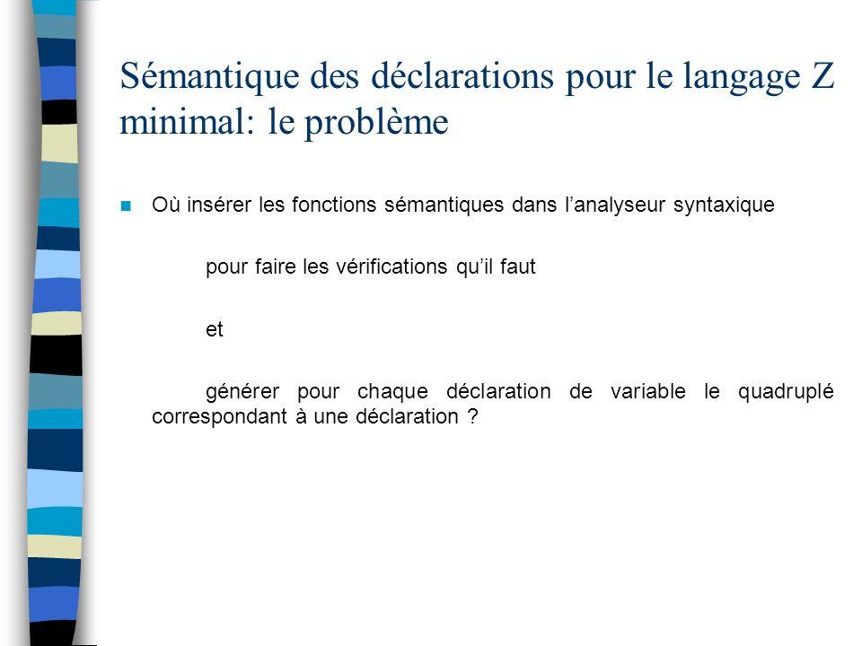 Sémantique des déclarations pour le langage Z minimal: le problème Où insérer les fonctions sémantiques dans lanalyseur syntaxique pour faire les véri