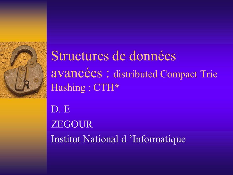 Structures de données avancées : distributed Compact Trie Hashing : CTH* D. E ZEGOUR Institut National d Informatique