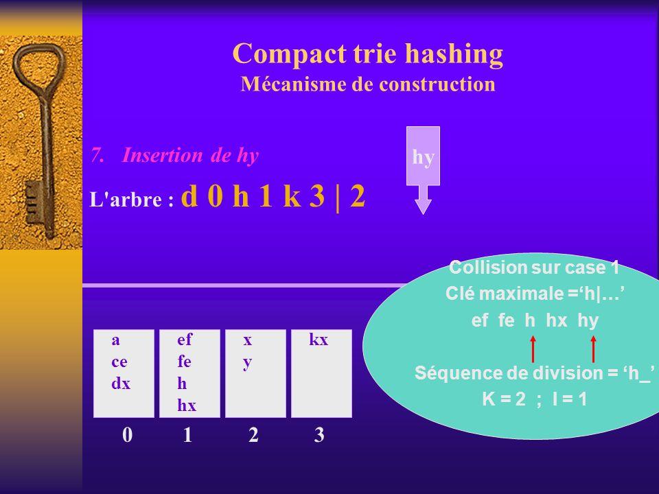 Compact trie hashing Mécanisme de construction 7. Insertion de hy L'arbre : d 0 h 1 k 3 | 2 0 a ce dx ef fe h hx 1 xyxy 2 kx 3 hy Collision sur case 1