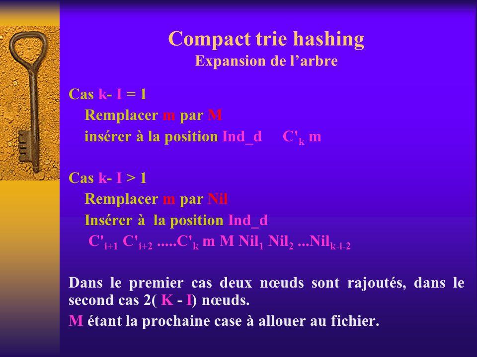 Compact trie hashing Expansion de larbre Cas k- I = 1 Remplacer m par M insérer à la position Ind_d C' k m Cas k- I > 1 Remplacer m par Nil Insérer à
