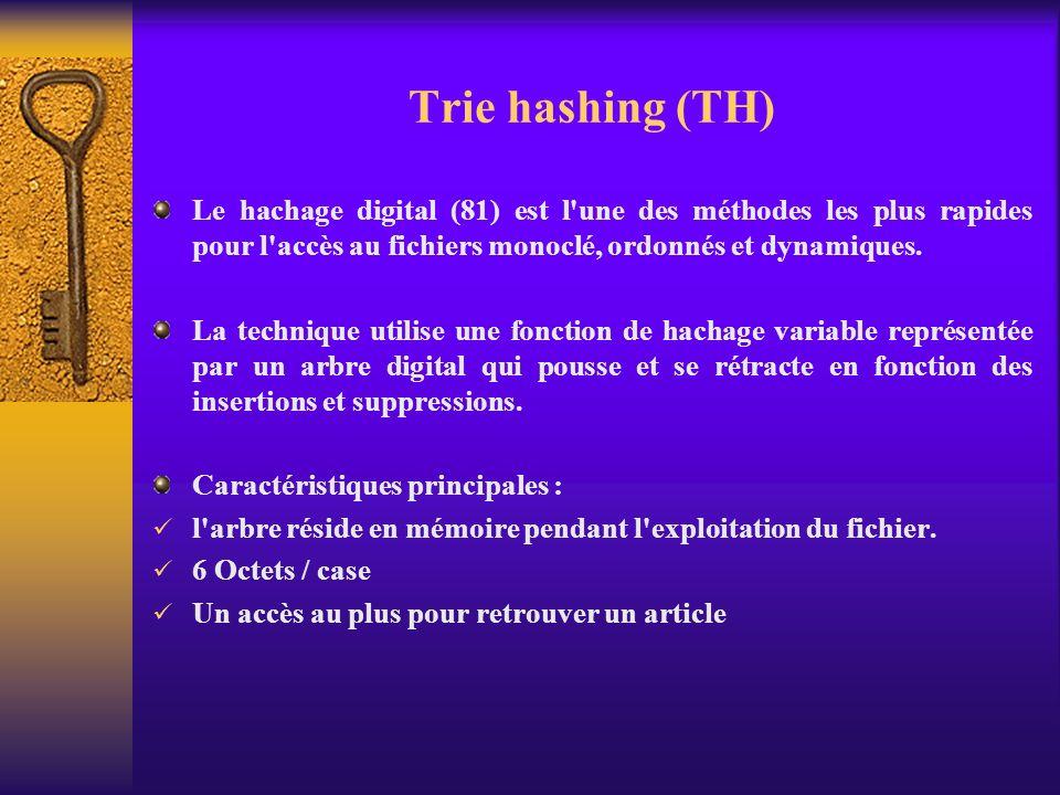 Trie hashing (TH) Le hachage digital (81) est l'une des méthodes les plus rapides pour l'accès au fichiers monoclé, ordonnés et dynamiques. La techniq
