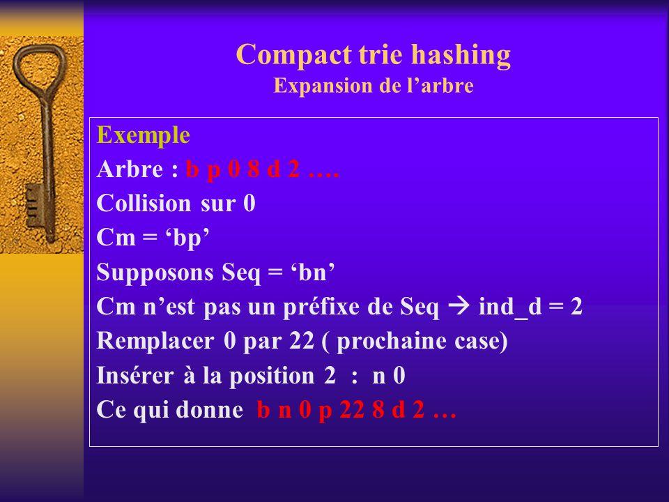 Compact trie hashing Expansion de larbre Exemple Arbre : b p 0 8 d 2 …. Collision sur 0 Cm = bp Supposons Seq = bn Cm nest pas un préfixe de Seq ind_d
