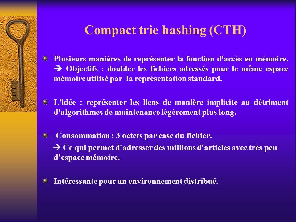 Compact trie hashing (CTH) Plusieurs manières de représenter la fonction d'accès en mémoire. Objectifs : doubler les fichiers adressés pour le même es