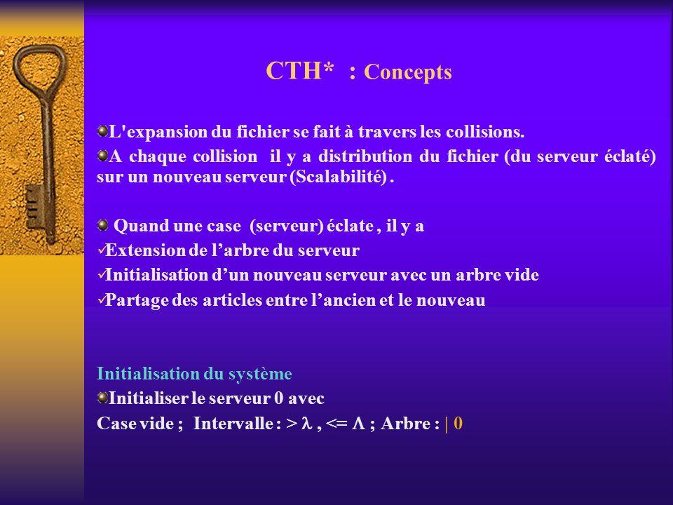 CTH* : Concepts L'expansion du fichier se fait à travers les collisions. A chaque collision il y a distribution du fichier (du serveur éclaté) sur un