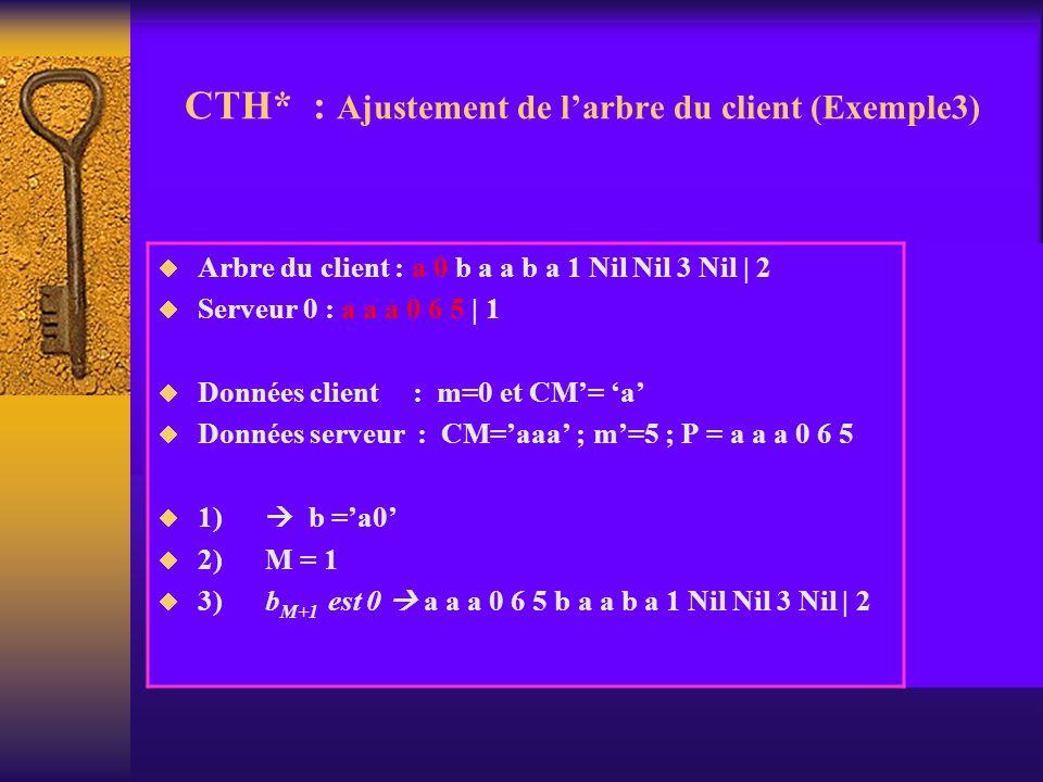 CTH* : Ajustement de larbre du client (Exemple3) Arbre du client : a 0 b a a b a 1 Nil Nil 3 Nil | 2 Serveur 0 : a a a 0 6 5 | 1 Données client : m=0