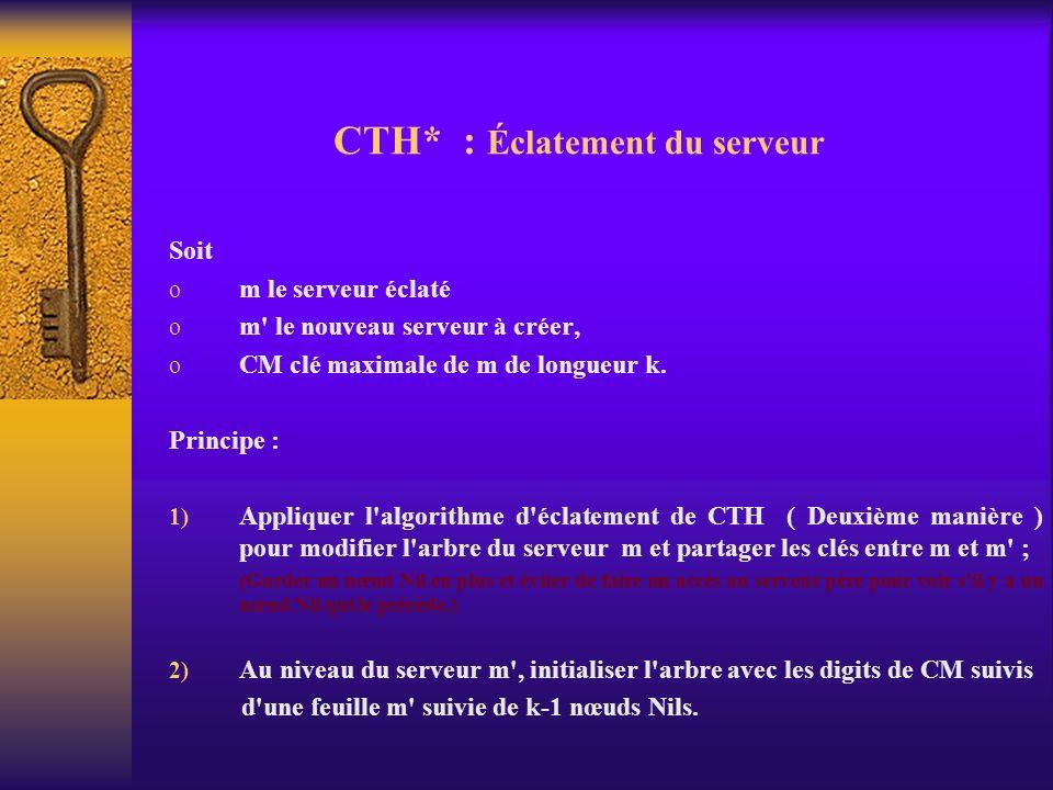 CTH* : Éclatement du serveur Soit o m le serveur éclaté o m' le nouveau serveur à créer, o CM clé maximale de m de longueur k. Principe : 1) Appliquer