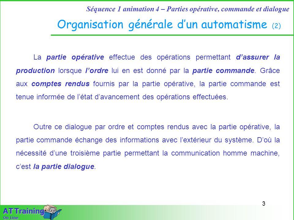4 Séquence 1 animation 4 – Parties opérative, commande et dialogue A T Training On Line Organisation générale dun automatisme (3) Cette partie dialogue réservée à lopérateur, lui permet de transmettre des informations, des commandes, des réglages, au moyen de dispositifs adaptés.