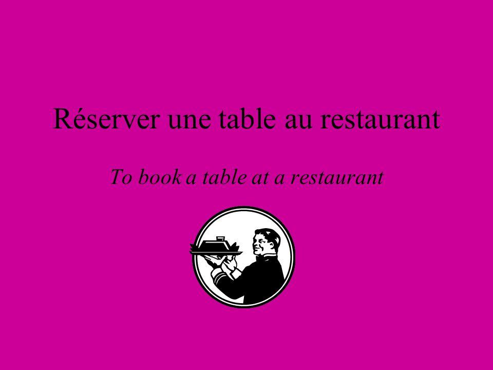 Réserver une table au restaurant To book a table at a restaurant