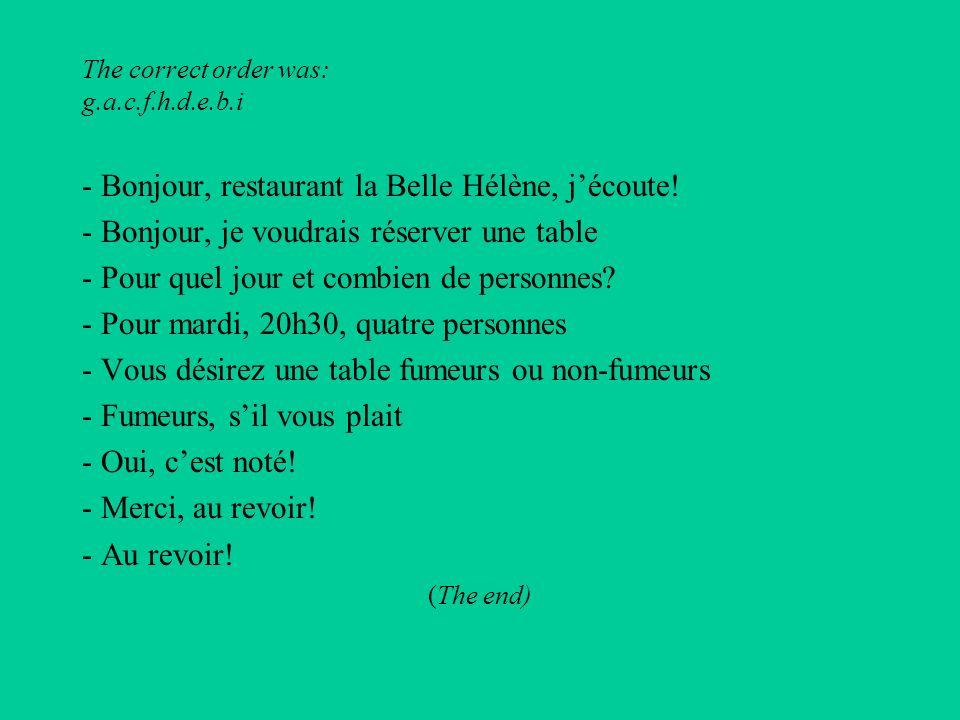 The correct order was: g.a.c.f.h.d.e.b.i - Bonjour, restaurant la Belle Hélène, jécoute.