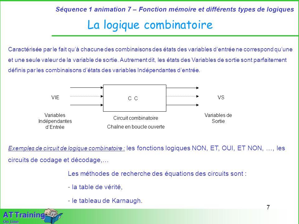 7 Séquence 1 animation 7 – Fonction mémoire et différents types de logiques A T Training On Line La logique combinatoire Caractérisée par le fait quà