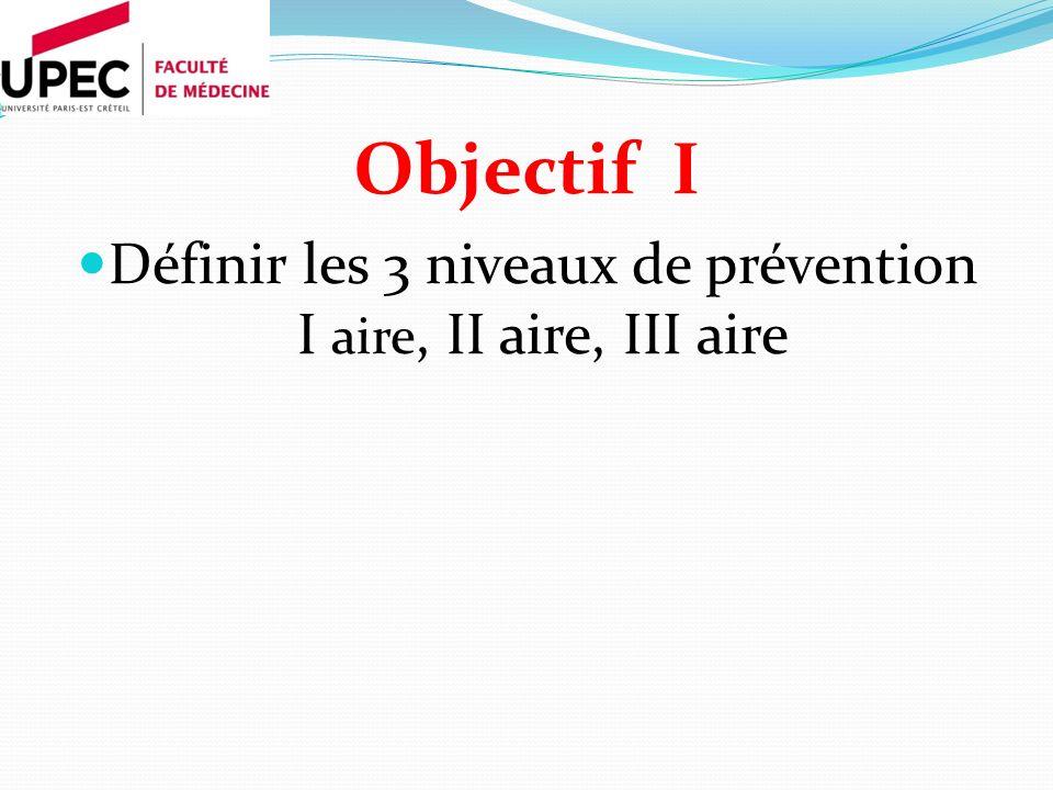 Objectif I Définir les 3 niveaux de prévention I aire, II aire, III aire