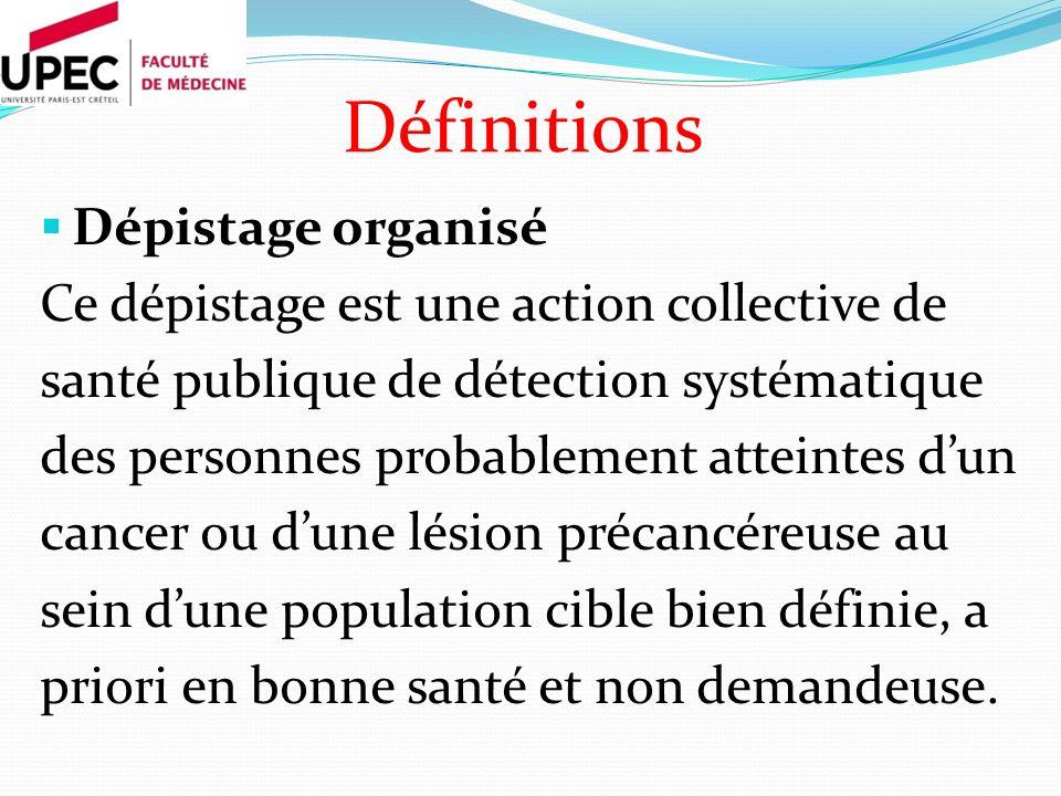 Dépistage organisé Ce dépistage est une action collective de santé publique de détection systématique des personnes probablement atteintes dun cancer ou dune lésion précancéreuse au sein dune population cible bien définie, a priori en bonne santé et non demandeuse.
