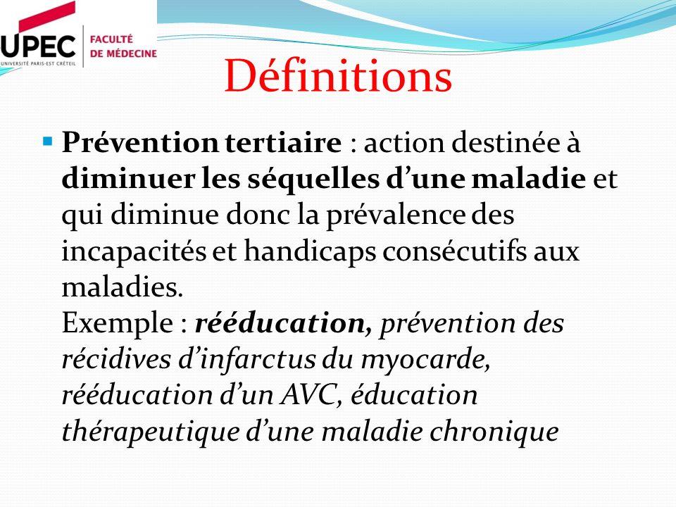 Prévention tertiaire : action destinée à diminuer les séquelles dune maladie et qui diminue donc la prévalence des incapacités et handicaps consécutifs aux maladies.