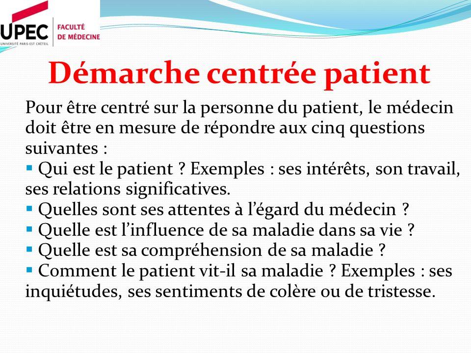 Démarche centrée patient Pour être centré sur la personne du patient, le médecin doit être en mesure de répondre aux cinq questions suivantes : Qui es