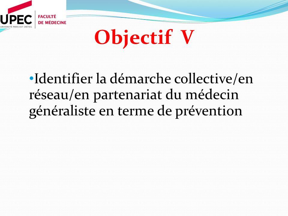 Objectif V Identifier la démarche collective/en réseau/en partenariat du médecin généraliste en terme de prévention