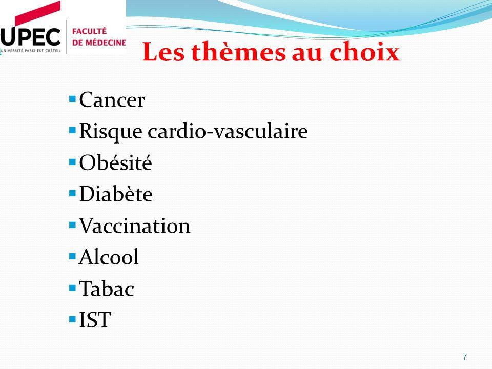Les thèmes au choix Cancer Risque cardio-vasculaire Obésité Diabète Vaccination Alcool Tabac IST 7