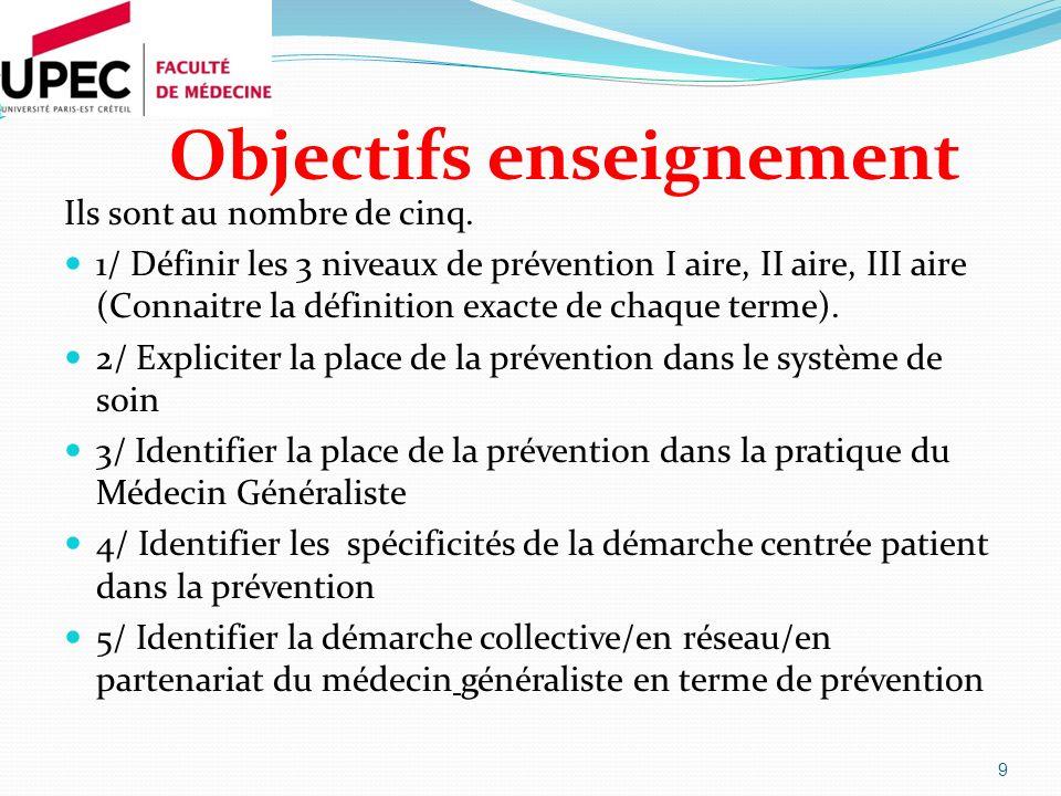 Objectifs enseignement Ils sont au nombre de cinq. 1/ Définir les 3 niveaux de prévention I aire, II aire, III aire (Connaitre la définition exacte de