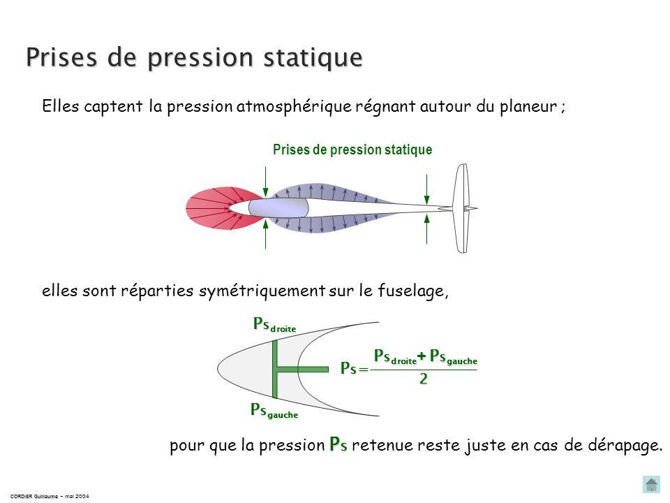 Prises de pression totale CORDIER Guillaume CORDIER Guillaume – mai 2004 ne pas confondre prise de pression totale et antenne de compensation ! Prise