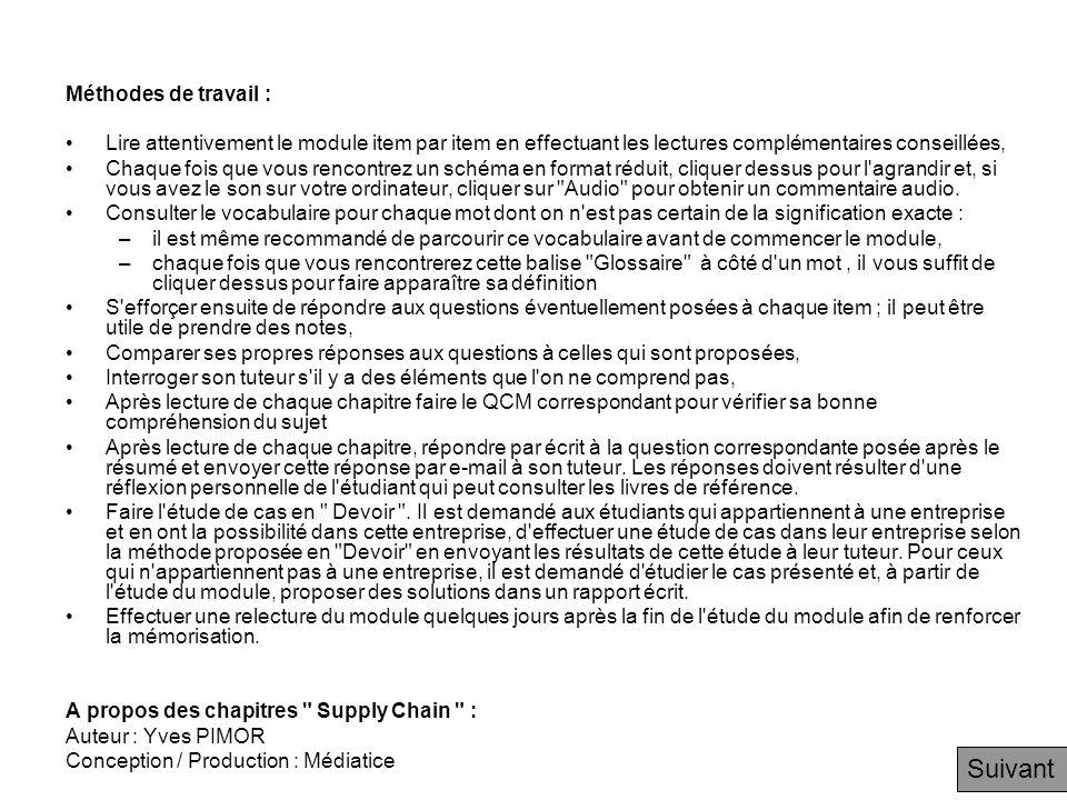 Question de fin de chapitre Question à laquelle vous devez répondre par e-mail à votre tuteur (de 20 lignes à plusieurs pages!), dès que vous avez terminé ce chapitre Si vous appartenez à une entreprise, quelles sont les principales supply chains qui vous paraissent représenter les flux de produits.