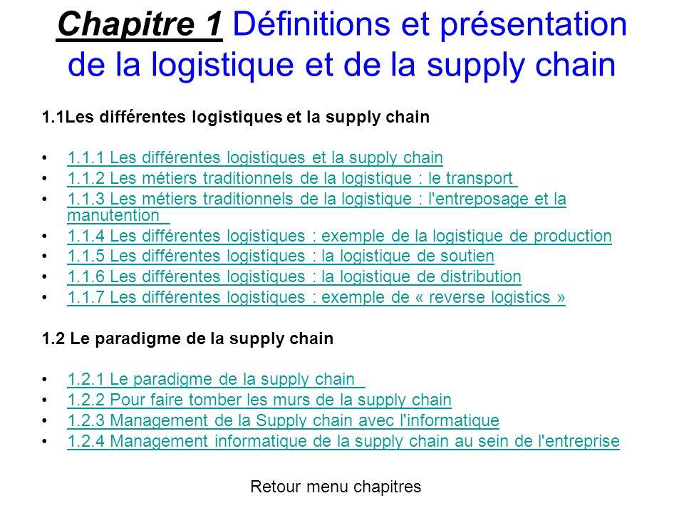 Chapitre 1 Définitions et présentation de la logistique et de la supply chain 1.1Les différentes logistiques et la supply chain 1.1.1 Les différentes logistiques et la supply chain 1.1.2 Les métiers traditionnels de la logistique : le transport 1.1.3 Les métiers traditionnels de la logistique : l entreposage et la manutention 1.1.3 Les métiers traditionnels de la logistique : l entreposage et la manutention 1.1.4 Les différentes logistiques : exemple de la logistique de production 1.1.5 Les différentes logistiques : la logistique de soutien 1.1.6 Les différentes logistiques : la logistique de distribution 1.1.7 Les différentes logistiques : exemple de « reverse logistics » 1.2 Le paradigme de la supply chain 1.2.1 Le paradigme de la supply chain 1.2.2 Pour faire tomber les murs de la supply chain 1.2.3 Management de la Supply chain avec l informatique 1.2.4 Management informatique de la supply chain au sein de l entreprise Retour menu chapitres